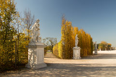 The roadside sculpture in the autumn royalty free stock photos