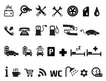 Roadside services transportation icons vector set Royalty Free Stock Photos