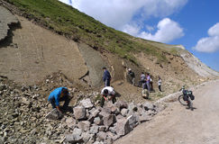 The roadside shipo is a block of 150 million years ago, the sea sedimentary fossil. Tianshan the roadside shipo of, a block of 150 million years ago, the sea Stock Photo