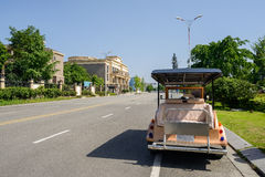 Roadside sightseeing car in sunny summer Royalty Free Stock Image