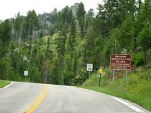 Roadside signs at Needle\'s Highway, South Dakota. Roadside directional and speed limit signs near approaching Custer State Park in South Dakota stock photo