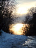 Roadside snowy sunset in Vermont Royalty Free Stock Image