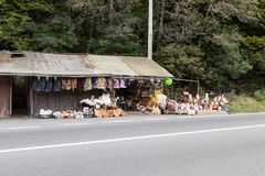 A roadside souvenir market located not far from the city of Brasov in Romania. Royalty Free Stock Images