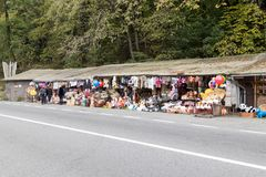 A roadside souvenir market located not far from the city of Brasov in Romania. Stock Images
