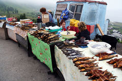 Roadside stalls with smoked fish including the amous Baikal omul Royalty Free Stock Photo