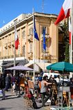 Roadside stalls, Valletta. Roadside stalls and artists opposite the law courts along Republic Street aka Triq Ir Repubblika, Valletta, Malta, Europe Royalty Free Stock Photography