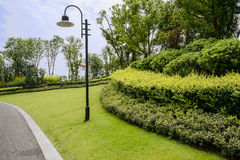 Roadside streetlamp and garden in cloudy summer Stock Images