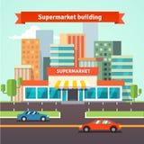 Roadside supermarket and cityscape background Stock Images