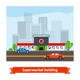 Roadside supermarket and cityscape background Royalty Free Stock Photo