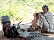 Roadside tea shop. Beautiful shot of road side tea stall at hoshiarpur main road in punjab india stock photo