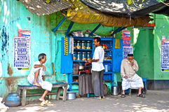 Roadside tea stall. This image demostrate a roadside tea stall at kolkata, india. In india, people love to have tea at roadside tea stalls as such stalls are Stock Image