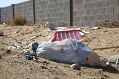 Roadside Trash. Trash sits on the side of a road in Mexico Stock Image