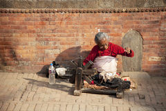 Roadside Vendor, Bhaktapur, Nepal Stock Images
