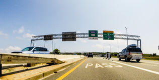 Roadside view approaching a toll, from GoPro Camera Royalty Free Stock Photo