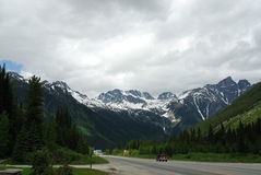 Roadside view of canadian rocky mountains Royalty Free Stock Photo