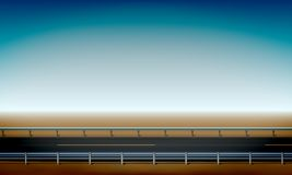 Roadside View With A Crash Barrier, Straight Horizon Desert And Clear Blue Sky Background Road, Vector Illustration Royalty Free Stock Photo