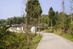 Roadside village in sunny spring Royalty Free Stock Photo