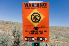 A roadside warning sign in america Stock Photos