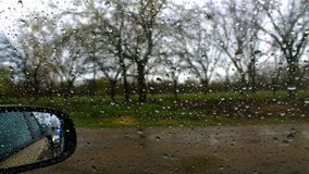 Raindrops on a car window Royalty Free Stock Image
