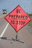 Roadside Work Zone sign Royalty Free Stock Photos