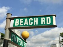 Roadsign дороги пляжа Стоковое Изображение