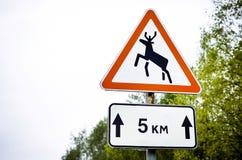 Roadsign лосей предупреждающее Стоковые Фотографии RF