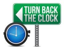 Roadsign с поворотом назад часы Стоковые Изображения