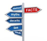 roadsign 3d de hechos contra wordcloud de las mentiras Imagen de archivo libre de regalías