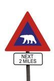 熊极性roadsign警告 库存照片