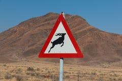 Roadsign-Antilopenüberfahrt in Afrika Stockbild