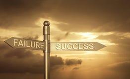 Roadsign com um conceito da falha ou do sucesso Fotos de Stock Royalty Free