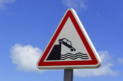 Roadsign on a dock Stock Photography