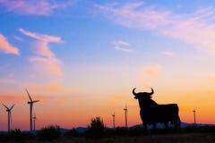 Roadsign español del toro Imagen de archivo libre de regalías