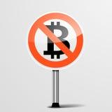 RoadSign ingen Bitcoin vektor illustrationer