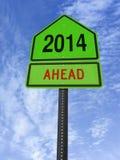 2014 roadsign naprzód Zdjęcie Stock
