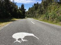 Roadsign Okarito Kiwi near Okarito, South Island, New Zealand stock image