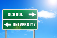 Roadsign school university. Stock Photos