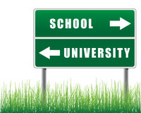 Roadsign school university. Stock Image