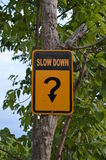 Roadsign Slow down Royalty Free Stock Photo