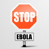 RoadSign Stop Ebola. Detailed illustration of a red stop ebola sign Royalty Free Stock Images