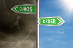 Roadsign to chaos and order. With cloudy sky and clear sky Royalty Free Stock Image