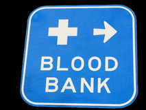 Roadsign to Hospital. Isolated roadsign with direction to the blood bank at the local hospital Stock Photo