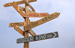 Roadsign to UN Missions. Wooden roadsign with place names of UN Missions Stock Photography