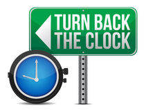 Roadsign with a turn back the clock. Concept Stock Images
