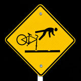 Roadsign warning cyclists of dangerous tram tracks Royalty Free Stock Photos