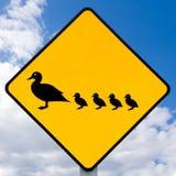 Roadsign WARNING, Enten mit der Entleinkreuzung Stockfotos