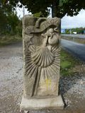 Roadsign on the Way of St. James `Jakobsweg` or `Camino Santiago` to Santiago de Compostela. In Spain stock photos
