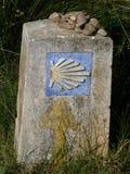 Roadsign on the Way of St. James `Jakobsweg` or `Camino Santiago` to Santiago de Compostela. In Spain Stock Photo