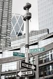 Roadsigns at the corner of Broadway and Columbus circle. NEW YORK, USA - May 01, 2016: Street signs for Broadway and Columbus Circle, Manhattan, NYC royalty free stock images