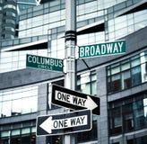 Roadsigns at the corner of Broadway and Columbus circle. NEW YORK, USA - May 01, 2016: Street signs for Broadway and Columbus Circle, Manhattan, NYC stock photo